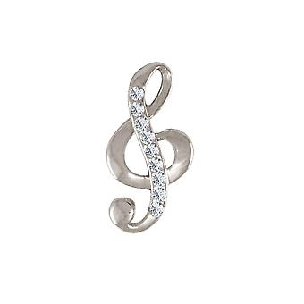Eternal Collection Melody Austrian Crystal Silver Tone Treble Clef Brooch