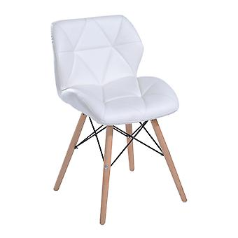 HOMCOM Faux Leather Diamond Designer Dining Chair Padded Solid Wooden Legs Lounge Home Office Furniture