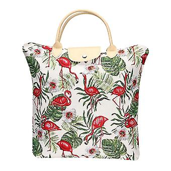 Flamingo foldaway shopping bag by signare tapestry / fdaw-flam