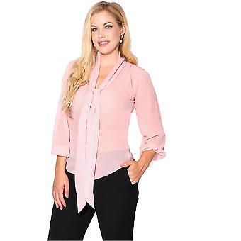 KRISP  KRISP Womens See Through Chiffon Blouse Ladies Tie Long Sleeve Transparent Top