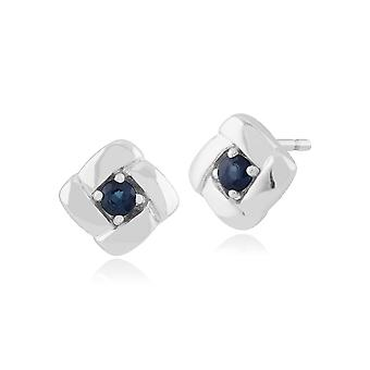 Gemondo 925 Sterling Silver 0.15ct Sapphire Square Crossover Stud Earrings
