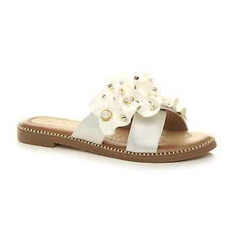 Ajvani Womens piatto low heel fiore ritagliato perla sera scivolare su volant infradito sandali
