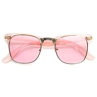 Colorful Half Frame Semi-Rimless Horn Rimmed Color Tint Sunglasses