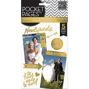 Me & My Big Ideas Pocket Pages Clear Stickers 5 Sheets/Pkg-Wedding Day PPS-46