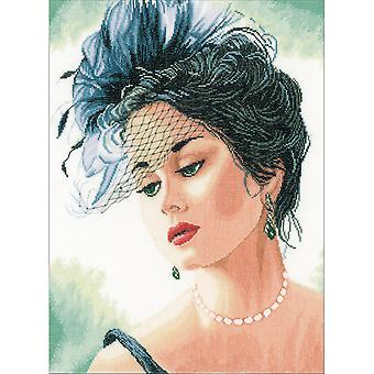 LanArte Lady With Hat On Linen Counted Cross Stitch Kit-13