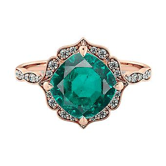 Emerald 1.25 ctw Ring with Diamonds 14K Rose Gold Flower Leaves Halo