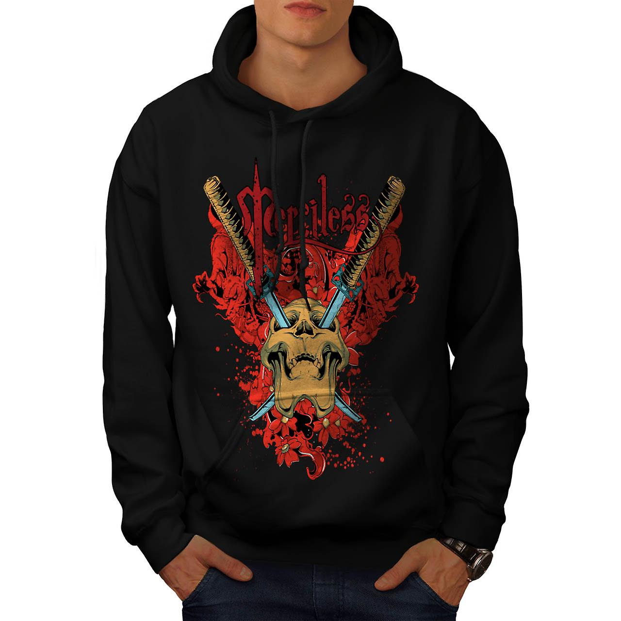 Merciless Flower Skull Men Black Hoodie | Wellcoda