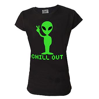 Darkside Womens Chill Out Black Tshirt Top Alien Peace Green Funny