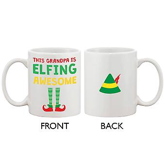 Cute Holiday Coffee Mug for Grandfather - This Grandpa Is Elfing Awesome