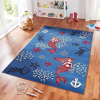 Design suede play mat for kids Mermaid blue 140 x 200 cm