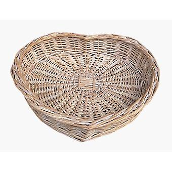 Large White Wash Heart Shaped Wicker Tray