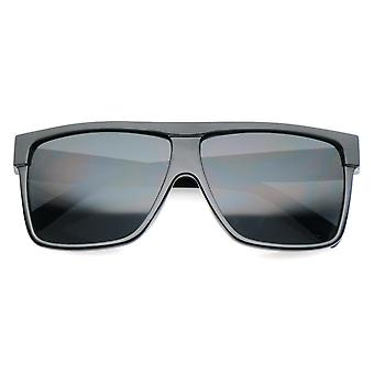 Oversize Flat Top Wide Temples Square Aviator Sunglasses 61mm