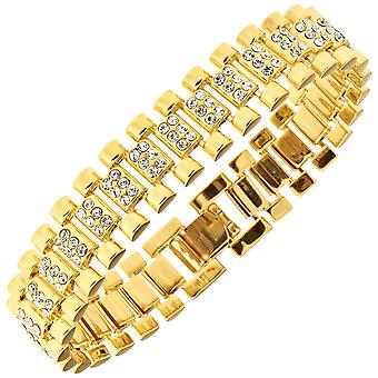 Iced Out Hip Hop Bling Armband - Zirkonia LINK 15mm gold
