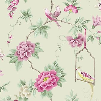 Birds Wallpaper Flowers Floral Leaves Wildlife Nature In Amethyst / Willow