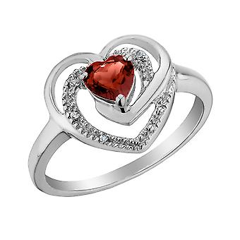 Garnet Heart Ring with Diamonds 1/3 Carat (ctw) in Sterling Silver