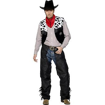Cowboy leather black costume with chaps vest belt and scarf