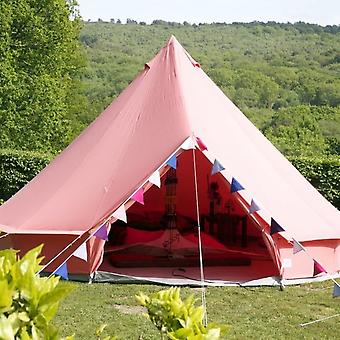 Boutique Camping 5m Coral Red Bell Tent With Zipped In Ground Sheet