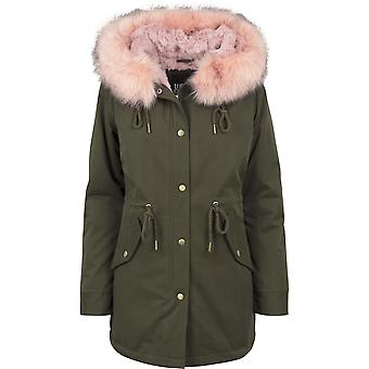 Urban classics ladies jacket in Peached Teddy lined parka