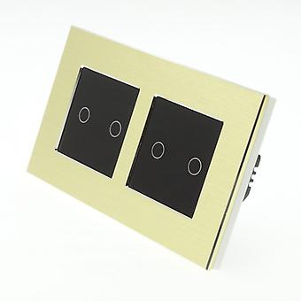 I LumoS Gold Brushed Aluminium Double Frame 4 Gang 1 Way Remote & Dimmer Touch LED Light Switch Black Insert