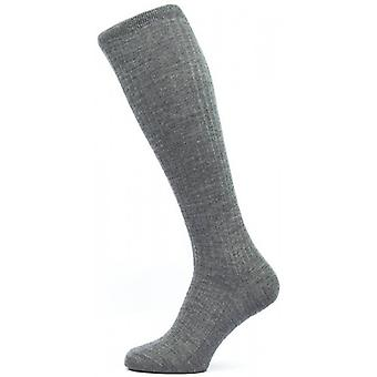 Pantherella Kangley Rib Over the Calf Merino Wool Socks - Dark Grey