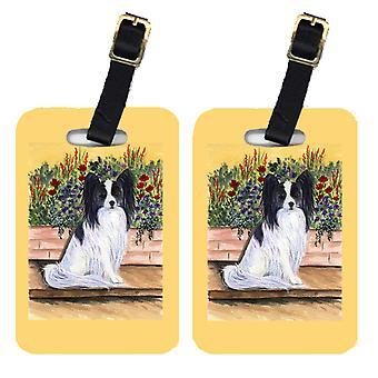 Carolines Treasures  SS8210BT Pair of 2 Papillon Luggage Tags