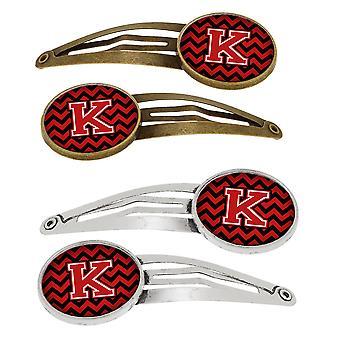 Bokstaven K Chevron sorte og røde sett med 4 Barrettes hår klipp