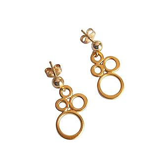 Gemshine - ladies - earrings - 925 Silver - gold plated - BUBBLES - 2 cm