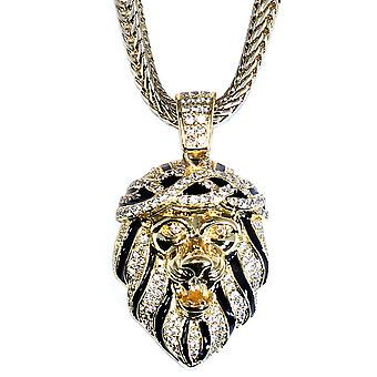 18k Gold Plated CZ Roaring Lion Pendant 1.2 inch with 30 inch Franco Chain