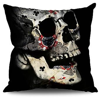 Poker Card Skeleton Linen Cushion Poker Card Skeleton | Wellcoda
