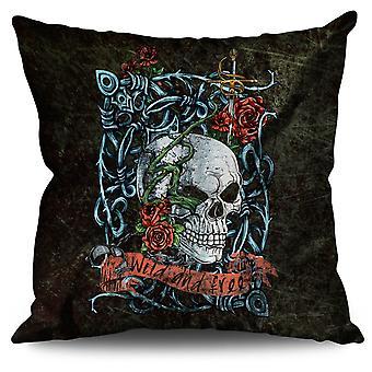 Rose Skeleton Death Skull Linen Cushion Rose Skeleton Death Skull | Wellcoda