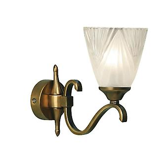 Single Light Columbia Brass Wall Light With Deco Glass Shade - Interiors 1900 63452