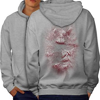Katana Face Art Fantasy Men GreyHoodie Back | Wellcoda