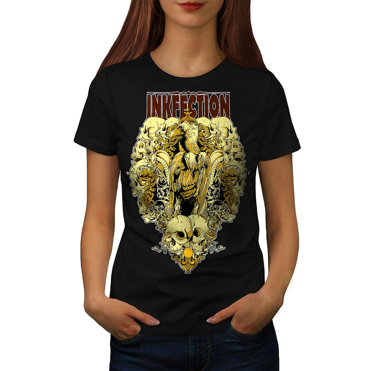 Inkfection Angel Skull Women Black T-shirt | Wellcoda