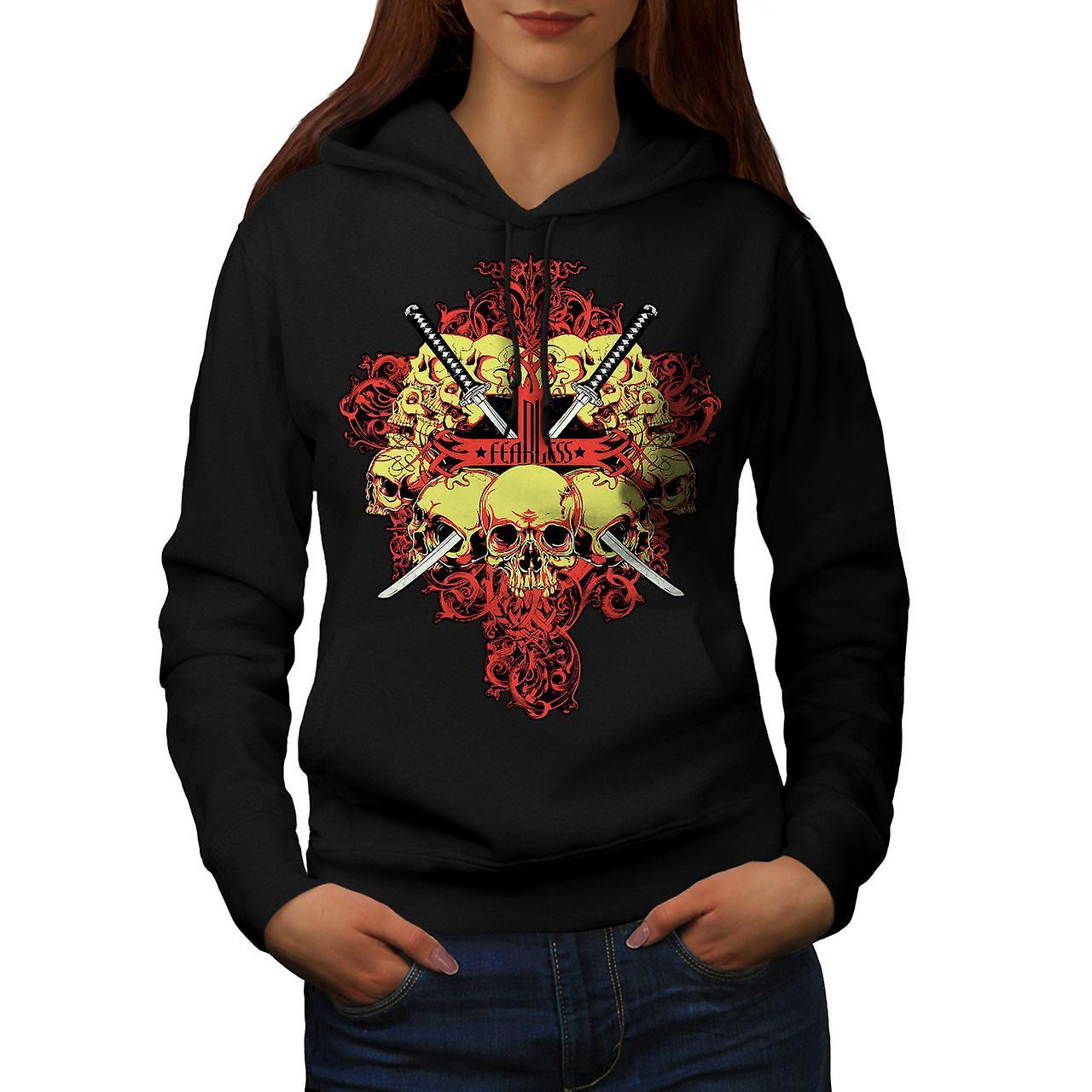 Fearless Rose Metal Skull Women Black Hoodie | Wellcoda