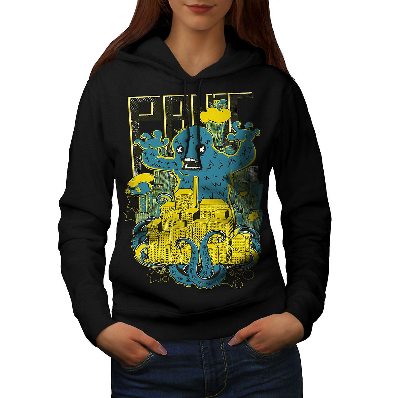Panic Monster City Horror Women Black Hoodie | Wellcoda
