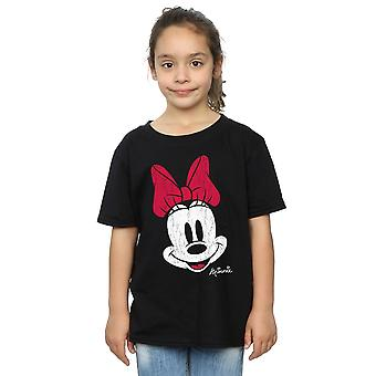 Disney Girls Minnie Mouse Distressed Face T-Shirt