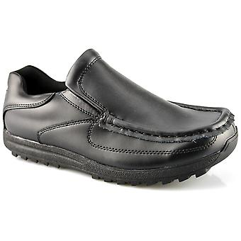 Boys Kids New Slip On Back To School Twin Gusset Formal Black Shoes