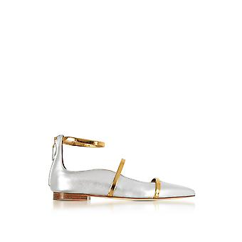 Malone sound women's ROBYNFLAT111SILVERGOLD silver leather of ballerinas