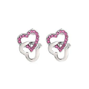 Womens Silver Stud Earrings Pink Stones Chained Heart Love Diamante