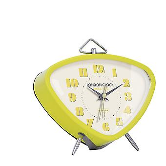 London Clock 1922 14cm Retro Collection Astro Lime Triangular Alarm Clock