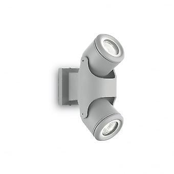 Ideal Lux Zeno Twin Spotlight Wall Light Adjustable, Grey