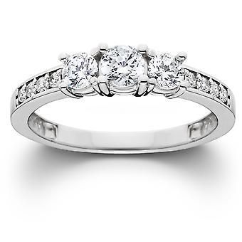 1ct Diamond Three Stone Ring 14K White Gold