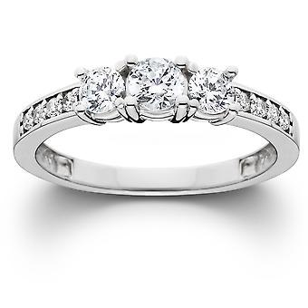 Anello 1ct diamante trilogy oro bianco 14k