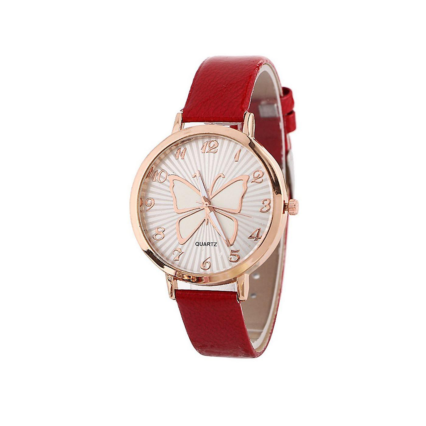 Cute Rose Gold Butterfly Watch Love RED Time UV