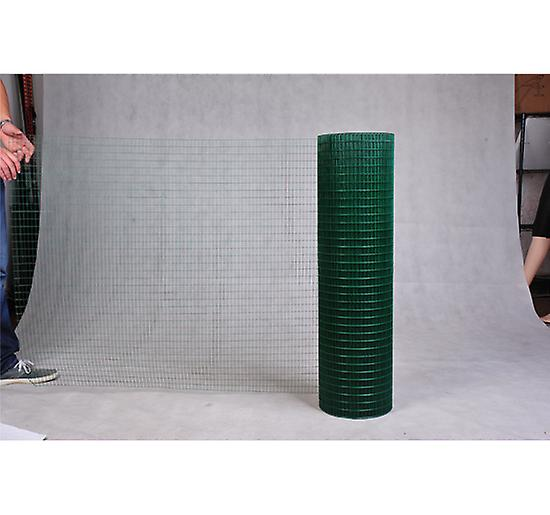 Pawhut PVC Coated Welded Wire Mesh Fencing Chicken Poultry Aviary Fence Run  Hutch Pet Rabbit 30m Dark Green