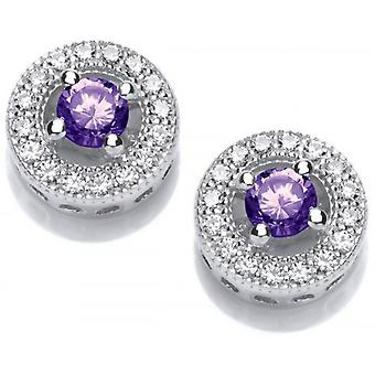 Cavendish French Twinkle Toes Solitaire Earrings - Silver/Purple