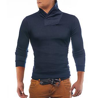Mens sweatshirt hoodie High collar Albany black / blue / gray