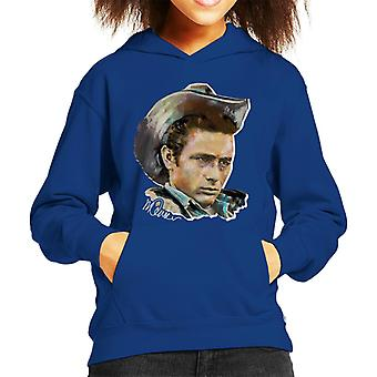Sidney Maurer Original Portrait Of James Dean Cowboy Hat Kid's Hooded Sweatshirt