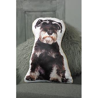 Adorable Black & Silver Schnauzer Shaped Cushion