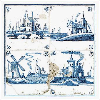 Antique Tiles Villages On Aida Counted Cross Stitch Kit-11